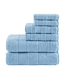 Madison Park Signature Parker Luxury Stripe Jacquard Zero Twist 600GSM Cotton 6-Pc. Towel Set