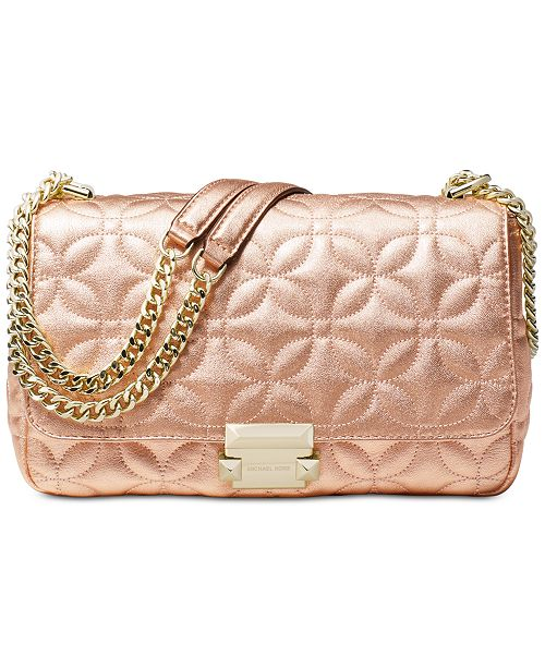 ce4e6744dc88 Michael Kors Sloan Quilted Floral Chain Shoulder Bag   Reviews ...
