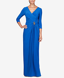 Alex Evenings Petite Embellished Faux-Wrap Gown