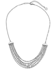 """Majorica Stainless Steel Imitation Pearl Multi-Chain Collar Necklace, 16"""" + 2"""" extender"""