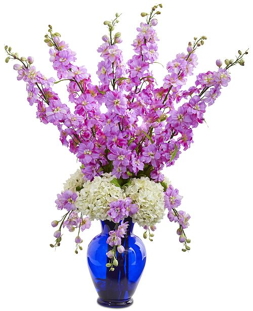 Nearly Natural Delphinium & Hydrangea Artificial Arrangement in Blue Vase
