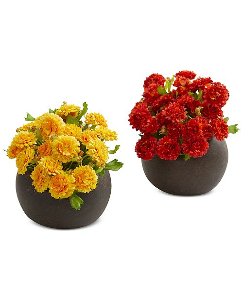 Nearly Natural Japanese Artificial Arrangements in Brown Planters, Set of 2