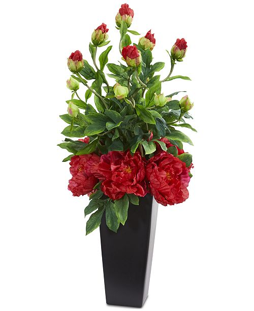 Nearly Natural Peony Artificial Arrangement in Black Vase