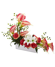 Nearly Natural Mixed Lily & Rose Artificial Arrangement