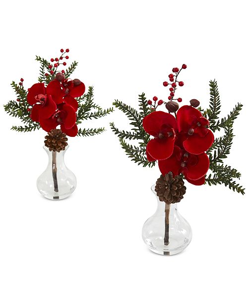 Nearly Natural Phalaenopsis Orchid, Berry and Pine Artificial Arrangements, Set of 2