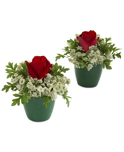 Nearly Natural Elegant Rose Artificial Arrangements in Green Planters, Set of 2