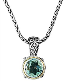 Balissima by EFFY® Green Quartz  Round Pendant (5 ct. t.w.) in Sterling Silver and 18k Gold