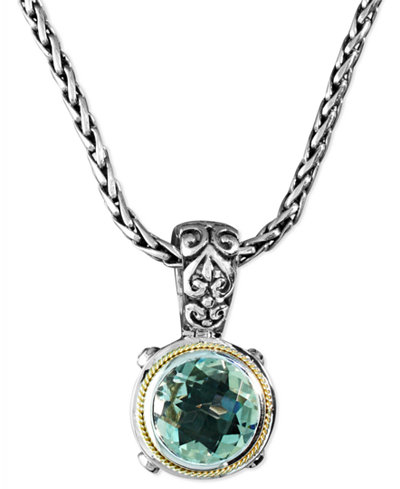 Balissima by EFFY Green Quartz Round Pendant (5 ct. t.w.) in Sterling Silver and 18k Gold
