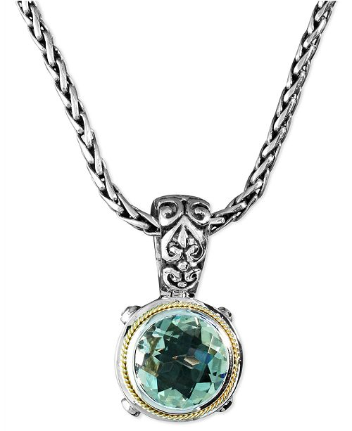 EFFY Collection Balissima by EFFY Green Quartz  Round Pendant (5 ct. t.w.) in Sterling Silver and 18k Gold