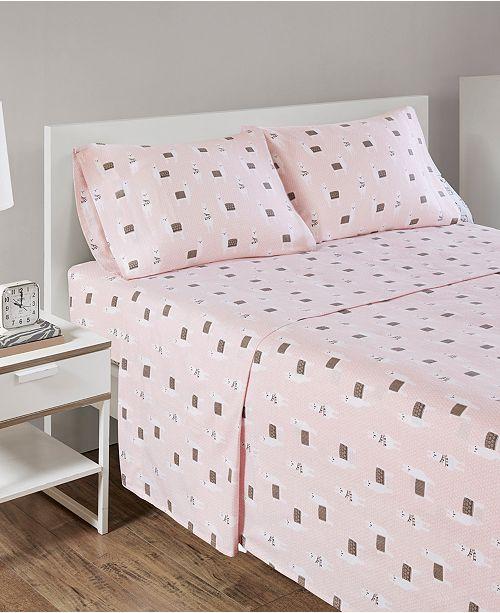 Intelligent Design Novelty Print Cotton Flannel Queen Sheet Set