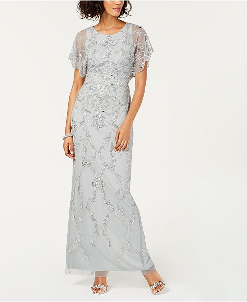 8b9823256d9 Adrianna Papell Embellished Short-Sleeve Gown & Reviews - Dresses ...