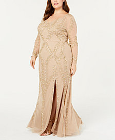 Adrianna Papell Plus Size Long-Sleeve Beaded Evening Gown