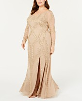 Adrianna Papell Plus Size Long-Sleeve Beaded Evening Gown 056176f2190f