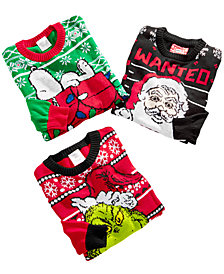 Hybrid Big Boys Graphic Holiday Sweater Separates