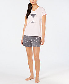 Charter Club Brushed Cotton Knit Top & Shorts Pajama Set, Created for Macy's