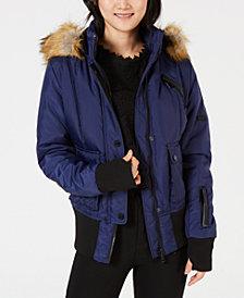 XOXO Juniors' Mixed-Media Hooded Bomber Coat