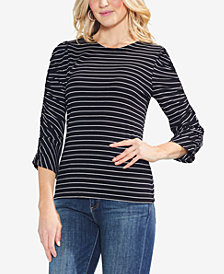 Vince Camuto Ruched-Sleeve Striped Top