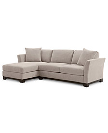 "Elliot II 107"" 2-Pc. Fabric Reversible Chaise Sectional Apartment Sofa, Created for Macy's"