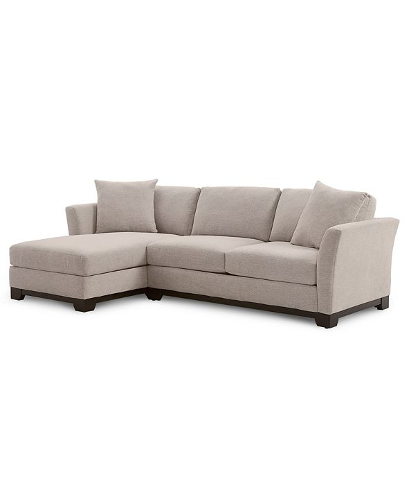 """Furniture Elliot II 107"""" 2-Pc. Fabric Chaise Sectional Apartment Sofa, Created for Macy's"""