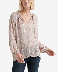 Lucky Brand Split-Neck Printed Peasant Top