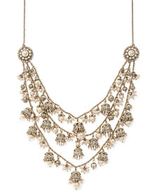 "Marchesa Gold-Tone Bead & Imitation Pearl 7-1/2"" Statement Necklace"
