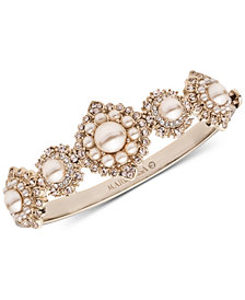 Marchesa Gold-Tone Cubic Zirconia & Imitation Pearl Bangle Bracelet