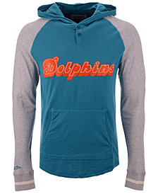 Mitchell & Ness Men's Miami Dolphins Slugfest Lightweight Hooded Long Sleeve T-Shirt