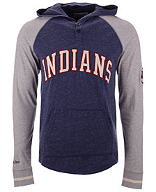 Mitchell & Ness Men's Cleveland Indians Slugfest Lightweight Hooded Long Sleeve T-Shirt