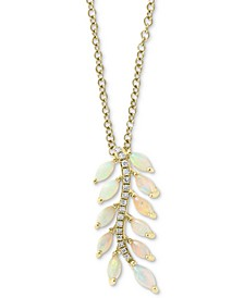 "EFFY® Opal (1 ct. t.w.) & Diamond Accent 18"" Pendant Necklace in 14k Gold"