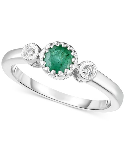 Macy's Emerald (1/3 ct. t.w.) & Diamond Accent Bezel Ring in 14k White Gold (Also Available in Pink Sapphire)