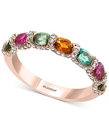 EFFY® Multi-Tourmaline (2 ct. t.w.) & Diamond (1/3 ct. t.w.) Ring in 14k Rose Gold
