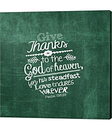 Psalm 136|26, Give Thanks, Green by inspire Me Canvas Art