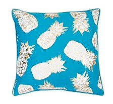 """Feather Fill Saugus Pineapple Raised Foil Printed Pillow, 20"""" x 20"""""""