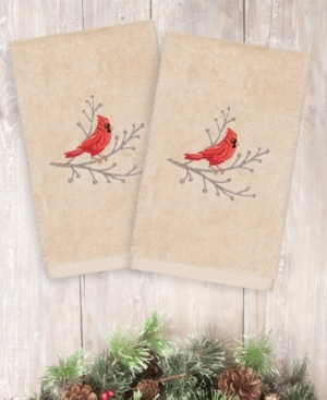 Image of Closeout! Linum Home Christmas Cardinal 100% Turkish Cotton 2-Pc. Hand Towel Set Bedding