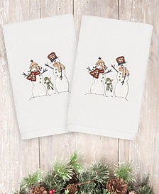 Linum Home Christmas Snow Family 100% Turkish Cotton 2-Pc. Hand Towel Set