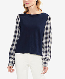 Vince Camuto Cotton Mixed-Media Top