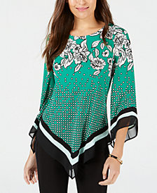 Alfani Petite Mixed-Print V-Hem Top, Created for Macy's