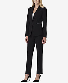Tahari ASL Faux-Leather-Trim Black Pantsuit