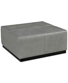 "Closeout! Halewood 37"" Square Leather Ottoman"