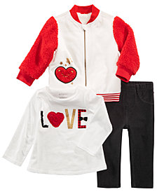 First Impressions Baby Girls Varsity Jacket, Love T-Shirt & Denim Jeggings, Created for Macy's