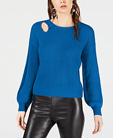 Bar III Balloon-Sleeve Cutout Sweater, Created for Macy's