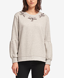 DKNY Beaded Balloon-Sleeve Sweater, Created for Macy's