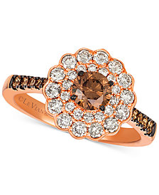 Le Vian® Chocolate® & Nude™ Diamond Floral Ring (1-1/3 ct. t.w.) in 14k Rose Gold