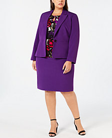 Kasper Plus Size One-Button Blazer, Printed Blouse & Pencil Skirt