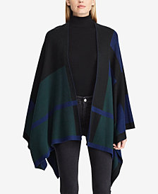 Lauren Ralph Lauren Petite Plaid Cotton-Blend Poncho