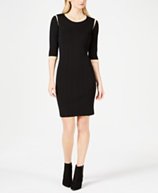 Marella Gaspare Colorblocked-Trim Crewneck Dress