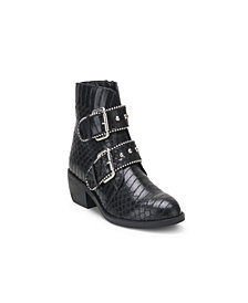 Wanted Jungle Snake Embossed Bootie with Buckles