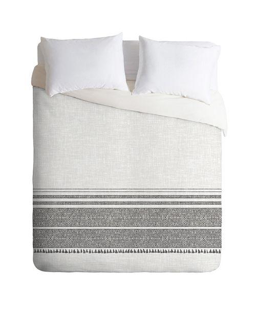 Deny Designs Holli Zollinger French Linen Charcoal Tassel Twin Duvet Set