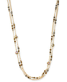 """I.N.C. Gold-Tone Beaded 60"""" Station Necklace, Created for Macy's"""