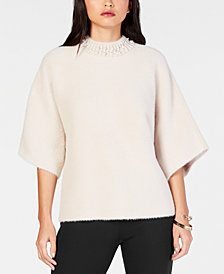 Alfani Petite Embellished Mock-Neck Sweater, Created for Macy's